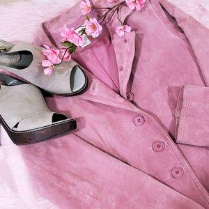 Vintage Dusty Rose Suede Leather Blazer Jacket